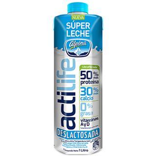 Leche Larga Vida Descremada Deslactosada 50% más proteína Alpina 1000 ml